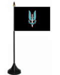 Special Air Service Desk / Table Flag with plastic stand and base.